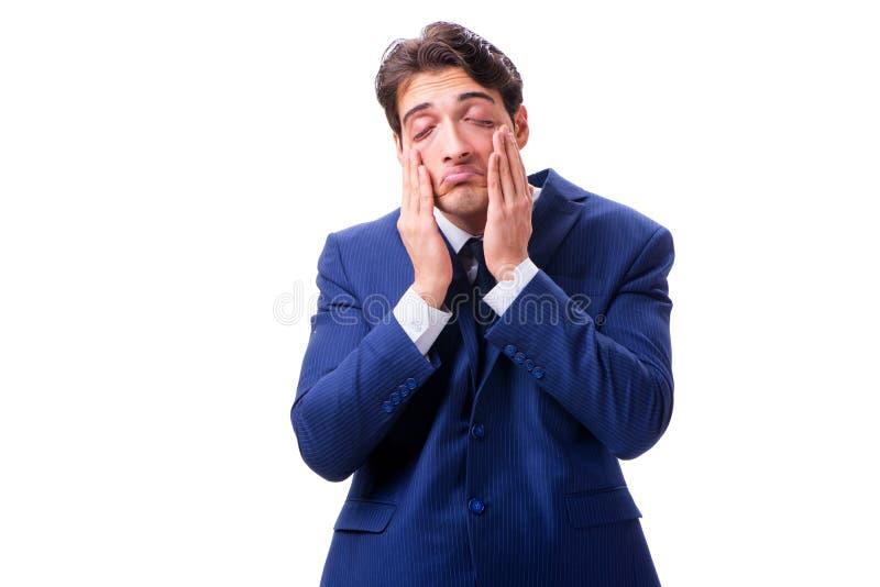 Ο άρρωστος και δυστυχισμένος επιχειρηματίας που απομονώνεται στο άσπρο υπόβαθρο στοκ εικόνες