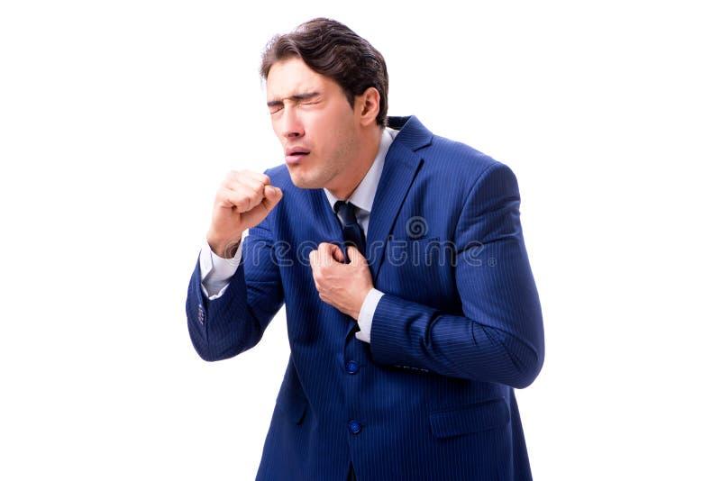 Ο άρρωστος και δυστυχισμένος επιχειρηματίας που απομονώνεται στο άσπρο υπόβαθρο στοκ εικόνα με δικαίωμα ελεύθερης χρήσης