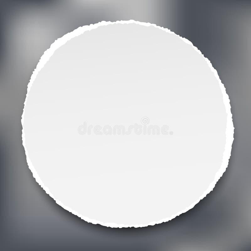 Ο άσπρος κύκλος έσχισε το έγγραφο με τη σκιά για το κείμενο ή το μήνυμα στο γκρίζο υπόβαθρο grunge επίσης corel σύρετε το διάνυσμ απεικόνιση αποθεμάτων