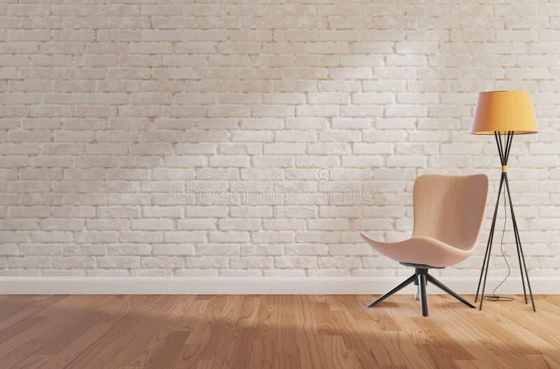 Ο άσπρος τουβλότοιχος και το ξύλινο πάτωμα, χλευάζουν επάνω, αντιγράφουν τη διαστημική, τρισδιάστατη απόδοση απεικόνιση αποθεμάτων