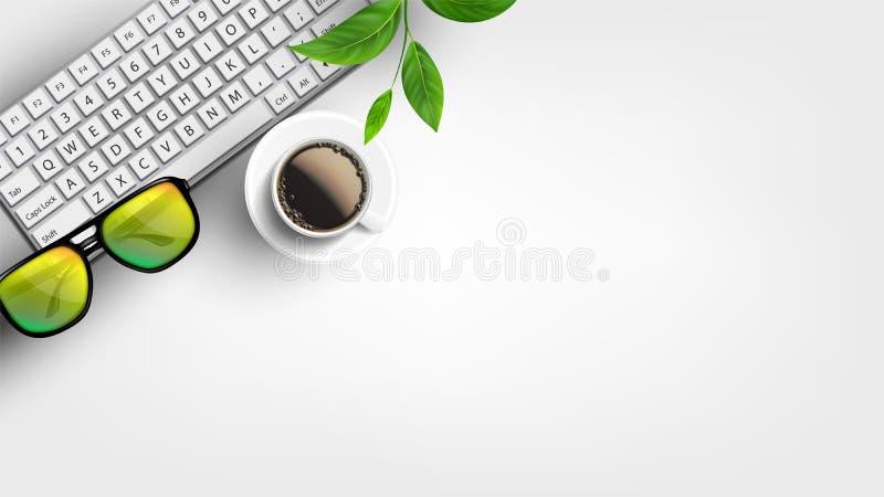Ο άσπρος υπολογιστής γραφείου Υπουργείων Εσωτερικών με το επίπεδο βάζει το διάνυσμα απεικόνιση αποθεμάτων