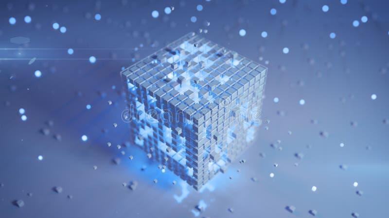 Ο άσπρος φουτουριστικός κύβος με τα καμμένος μπλε στοιχεία τρισδιάστατα δίνει ελεύθερη απεικόνιση δικαιώματος