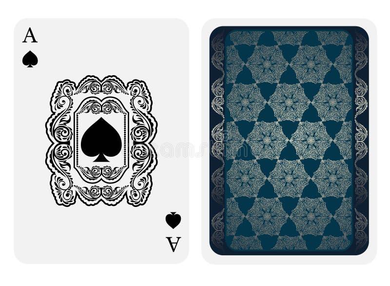 Ο άσσος του προσώπου φτυαριών με τα φτυάρια μέσα στο florar τετραγωνικό σχέδιο και η πίσω πλευρά με το μπλε και ασημένιο σχέδιο τ απεικόνιση αποθεμάτων