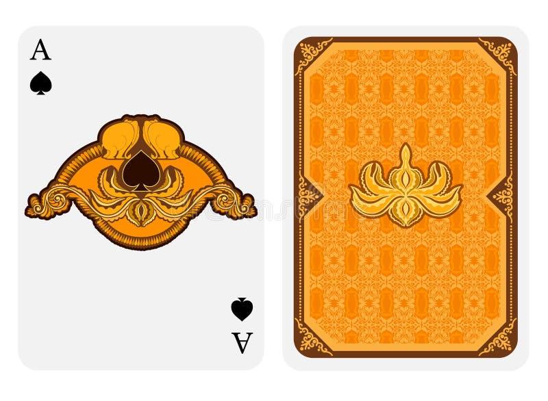 Ο άσσος του προσώπου φτυαριών με τα φτυάρια στο floral σχέδιο lotos με τον ελέφαντα και η πίσω πλευρά με το χρυσό σχέδιο ταιριάζο απεικόνιση αποθεμάτων