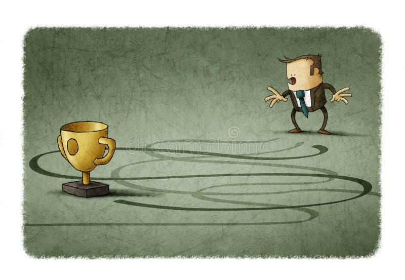 Ο έκπληκτος επιχειρηματίας φαίνεται η πρόοδος για να επιτύχει το στόχο του απεικόνιση αποθεμάτων