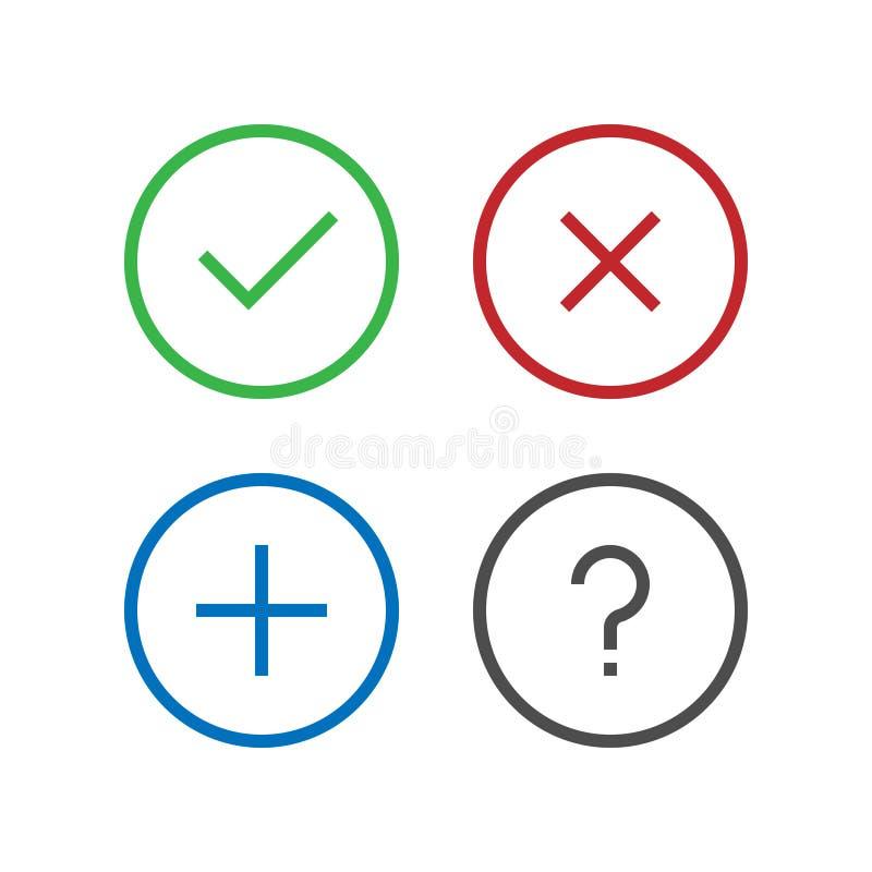 Ο έλεγχος, αφαιρεί, διαγράφει, κλείνει, προσθέτει, εξετάζει, εικονίδιο FAQ στο τέλειο επίπεδο σχέδιο εικονοκυττάρου Επιβεβαιώστε  ελεύθερη απεικόνιση δικαιώματος