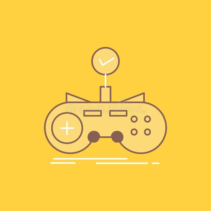 Ο έλεγχος, ελεγκτής, παιχνίδι, gamepad, επίπεδη γραμμή τυχερού παιχνιδιού γέμισε το εικονίδιο Όμορφο κουμπί λογότυπων πέρα από το διανυσματική απεικόνιση