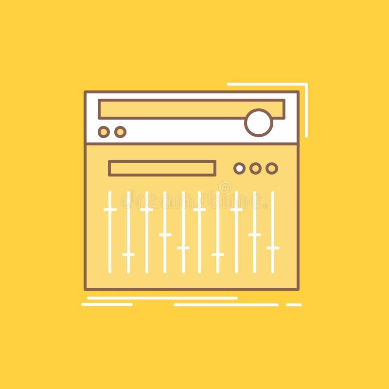 Ο έλεγχος, ελεγκτής, Midi, στούντιο, ηχεί το επίπεδο γεμισμένο γραμμή εικονίδιο Όμορφο κουμπί λογότυπων πέρα από το κίτρινο υπόβα απεικόνιση αποθεμάτων