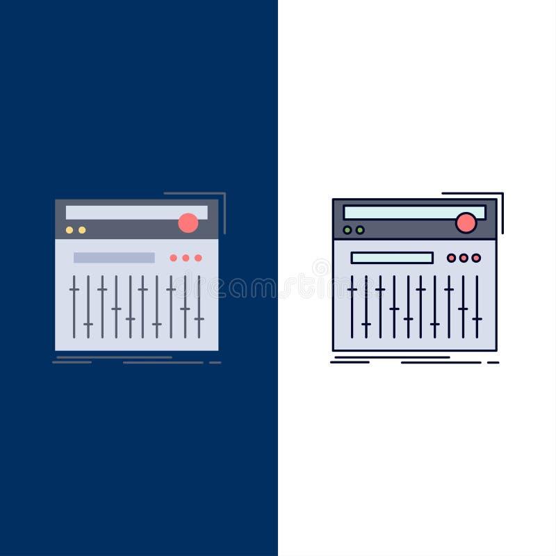 Ο έλεγχος, ελεγκτής, Midi, στούντιο, ηχεί το επίπεδο διάνυσμα εικονιδίων χρώματος απεικόνιση αποθεμάτων