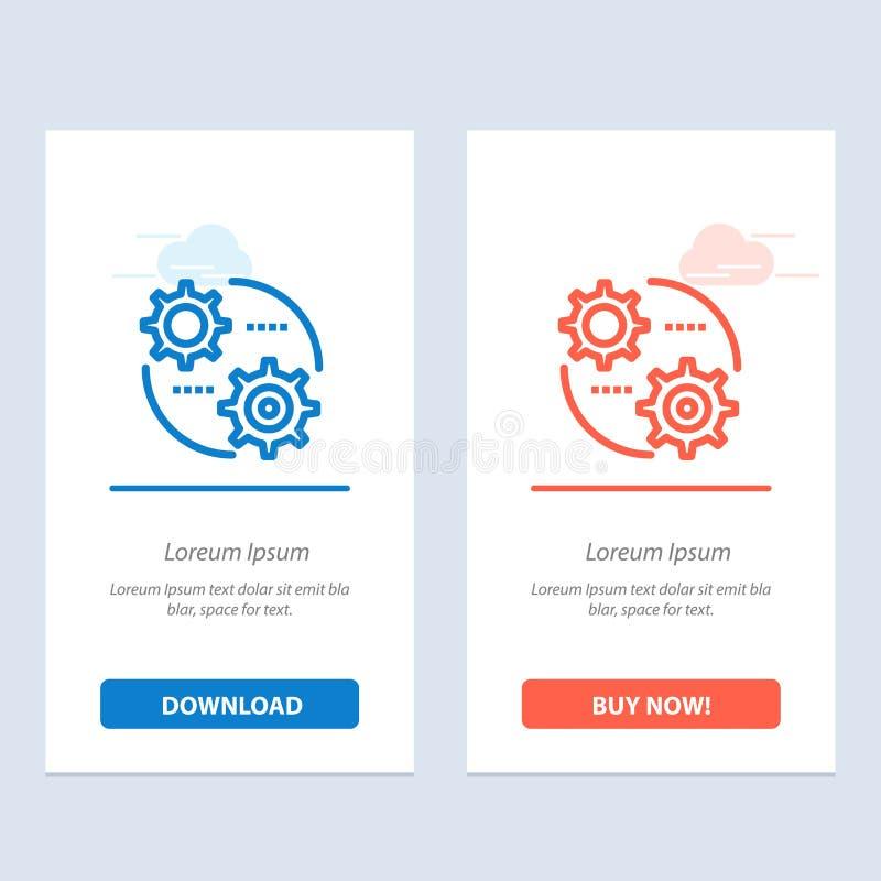 Ο έλεγχος, η ρύθμιση, το εργαλείο, θέτοντας μπλε και το κόκκινο μεταφορτώνουν και αγοράζουν τώρα το πρότυπο καρτών Widget Ιστού απεικόνιση αποθεμάτων