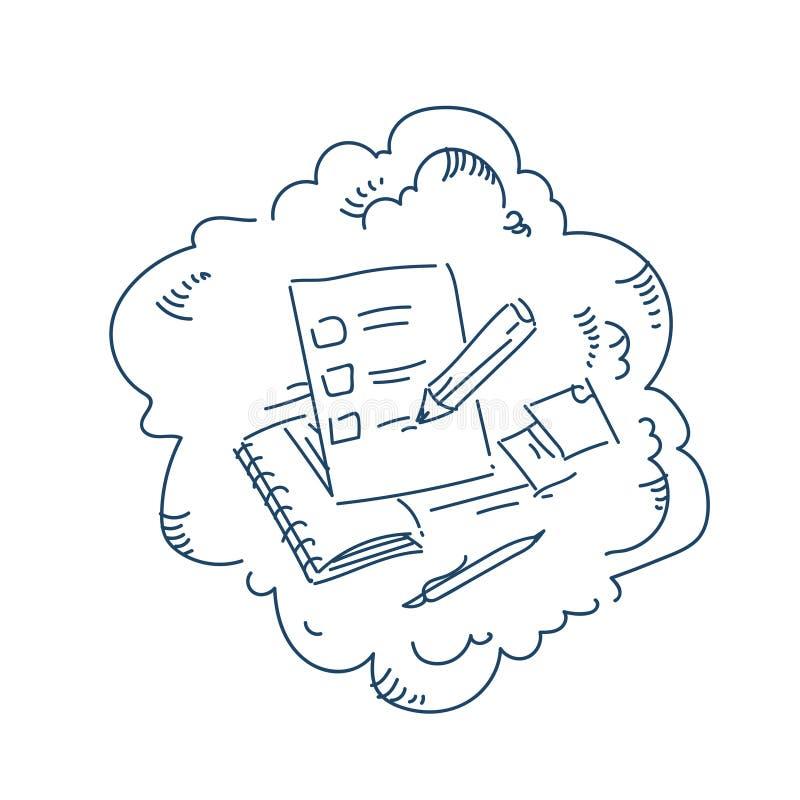 Ο έλεγχος περιοχών αποκομμάτων χαρακτηρίζει την έννοια μορφής διαγωνισμών μανδρών στο άσπρο σκίτσο υποβάθρου doodle ελεύθερη απεικόνιση δικαιώματος