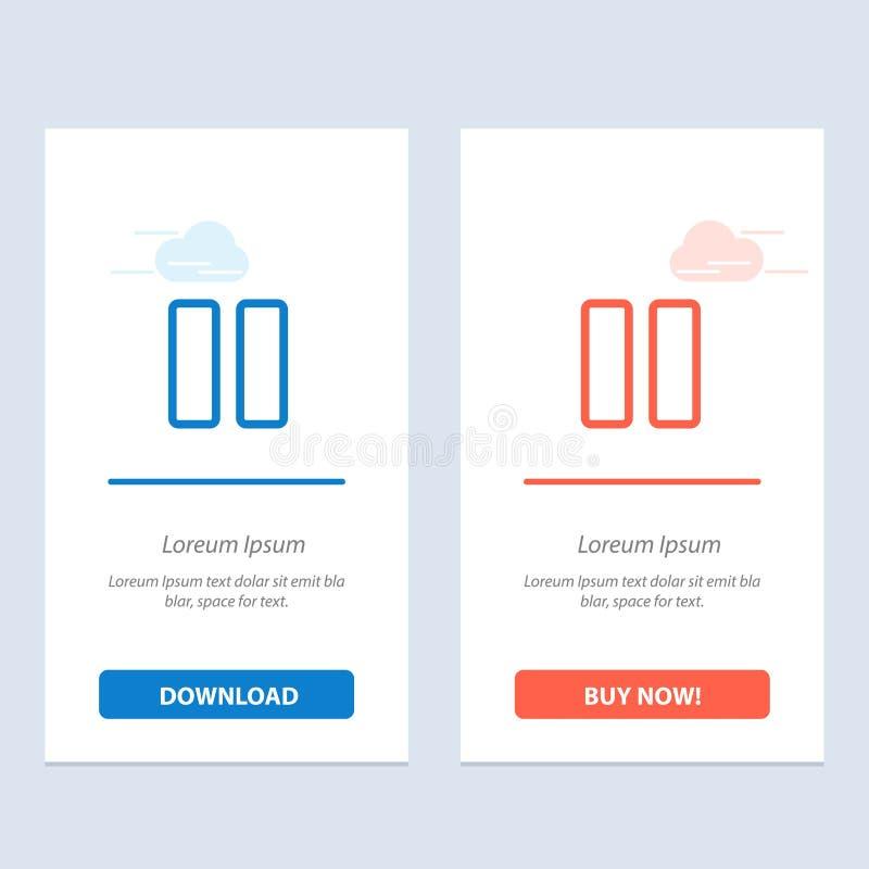 Ο έλεγχος, τα μέσα, η μικρή διακοπή, τηλεοπτικοί μπλε και το κόκκινο μεταφορτώνουν και αγοράζουν τώρα το πρότυπο καρτών Widget Ισ απεικόνιση αποθεμάτων