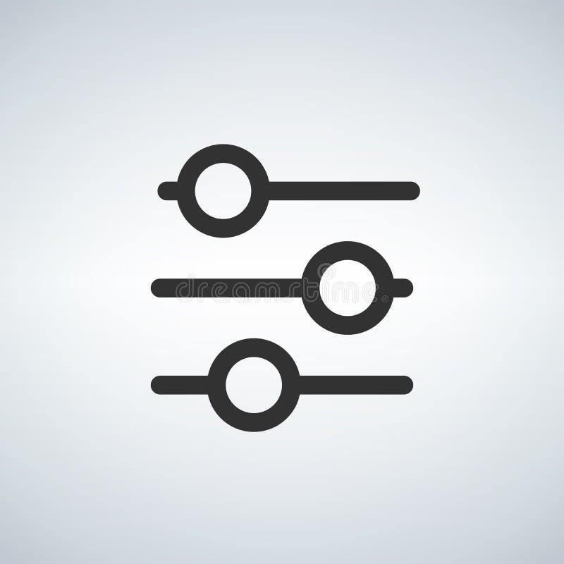 Ο έλεγχος φίλτρων απομόνωσε το ελάχιστο εικονίδιο Εικονίδιο γραμμών τοποθετήσεων για τους ιστοχώρους και κινητός στο ελαφρύ υπόβα ελεύθερη απεικόνιση δικαιώματος