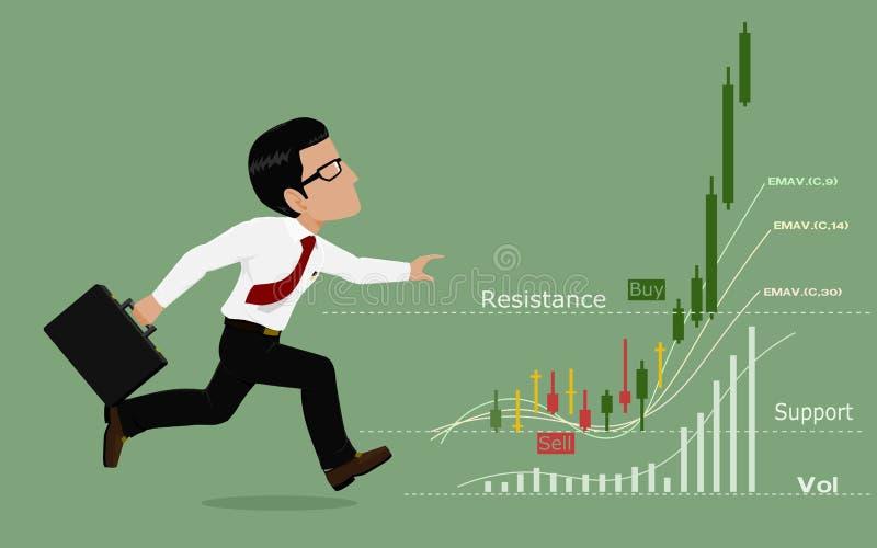 Ο έμπορος τρέχει μετά από το διάγραμμα αποθεμάτων διανυσματική απεικόνιση