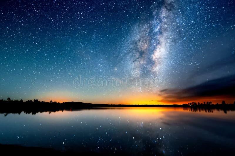 Ο έναστρος ουρανός, ο γαλακτώδης τρόπος Φωτογραφία της μακροχρόνιας έκθεσης επιτραπέζια χρήση φωτογραφιών νύχτας τοπίων εγκαταστά στοκ φωτογραφία με δικαίωμα ελεύθερης χρήσης