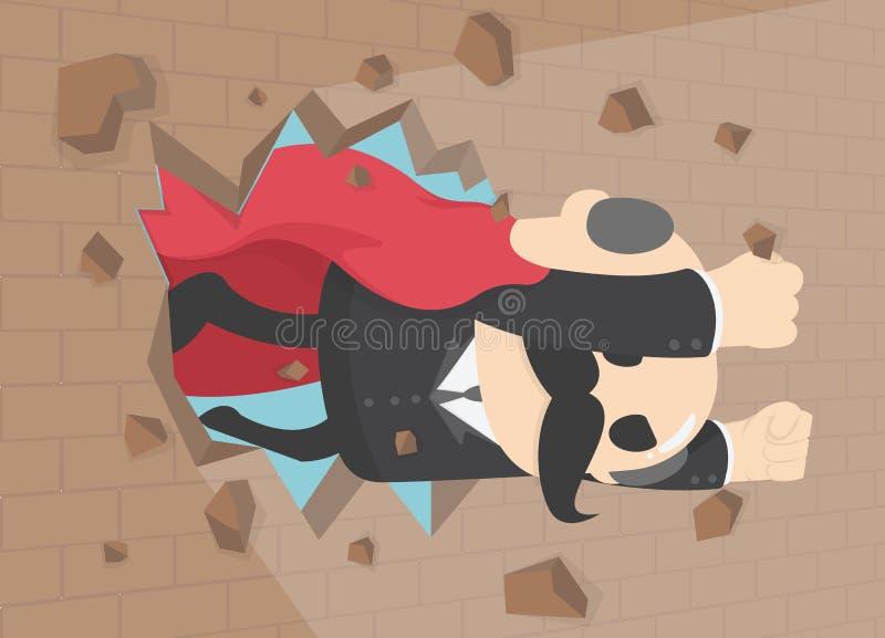 Ο έξοχος επιχειρηματίας τρυπά τον τοίχο με διατρητική μηχανή, superhero υπαλλήλων που πετά το θόριο ελεύθερη απεικόνιση δικαιώματος