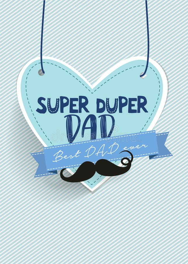 Ο έξοχος μπαμπάς και αυτό σημαίνει τον εξαιρετικά καλό μπαμπά/την ευτυχή ευχετήρια κάρτα ημέρας πατέρων απεικόνιση αποθεμάτων