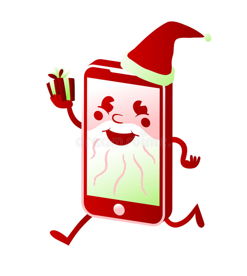 Ο έξυπνος χαρακτήρας κινουμένων σχεδίων τηλεφωνικού Άγιου Βασίλη αγοράζει τα χριστουγεννιάτικα δώρα σε απευθείας σύνδεση αγορές διανυσματική απεικόνιση