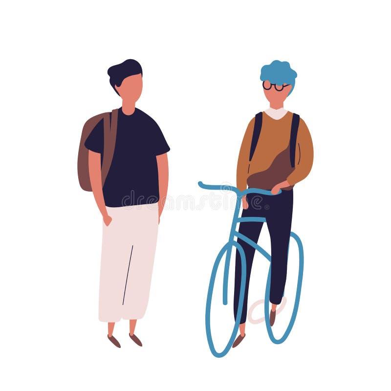 Ο έφηβος έντυσε στη σχολική στολή που συναντά το φίλο του στο ποδήλατο ή το ποδήλατο Ζευγάρι των σπουδαστών, μαθητές, συμμαθητές  απεικόνιση αποθεμάτων