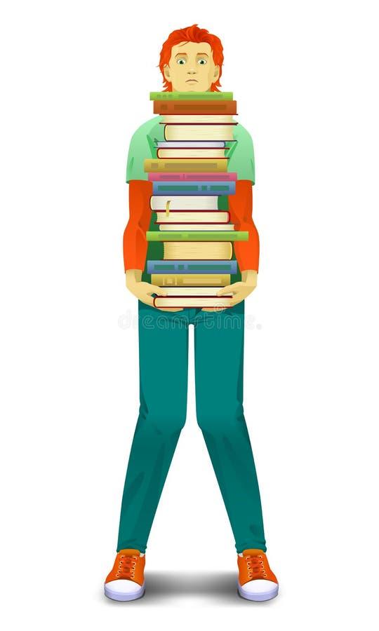Ο έφηβος κρατά τα βιβλία στοκ εικόνες