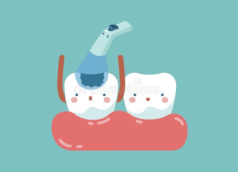 Ο έλεγχος αποσυντέθηκε επάνω δόντι, δόντια και έννοια δοντιών οδοντικού διανυσματική απεικόνιση