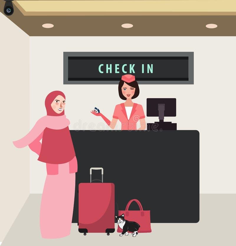 Ο έλεγχος γυναικών κοριτσιών στο μπροστινό ταξίδι γραφείων πτήσης αερογραμμών που φορά το πέπλο φέρνει τις αποσκευές διανυσματική απεικόνιση