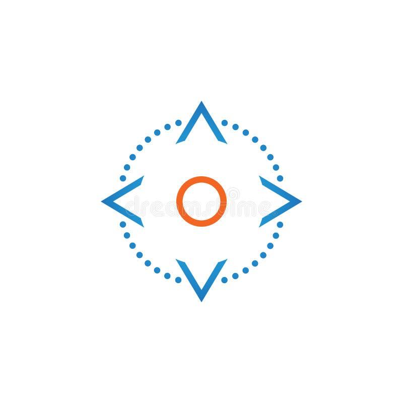 Ο έλεγχος τεσσάρων βελών κατεύθυνσης κουμπώνει το εικονίδιο γραμμών, διανυσματική απεικόνιση λογότυπων περιλήψεων, γραμμικό εικον ελεύθερη απεικόνιση δικαιώματος