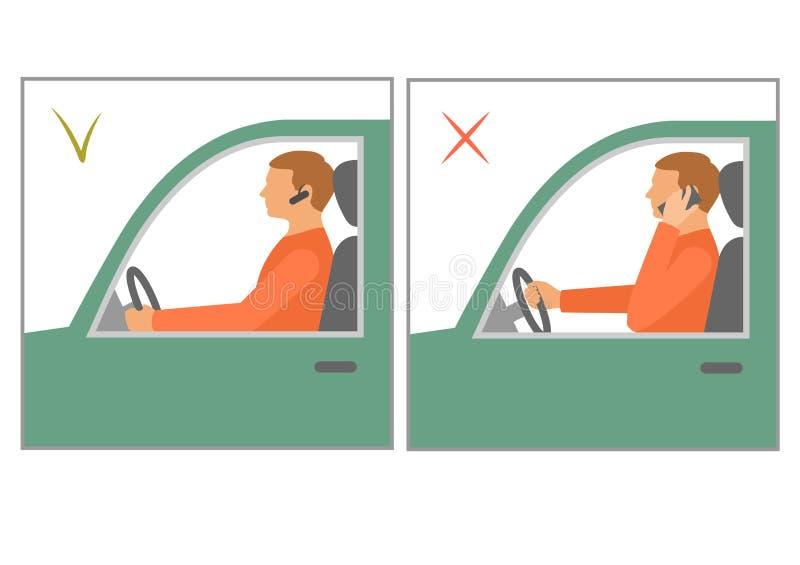 Οδήγηση αυτοκινήτων ασφάλειας, κίνδυνος χρησιμοποιώντας το τηλέφωνο διανυσματική απεικόνιση