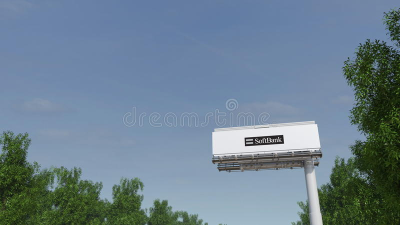 Οδήγηση προς τη διαφήμιση του πίνακα διαφημίσεων με το λογότυπο SoftBank Εκδοτική τρισδιάστατη απόδοση στοκ εικόνα με δικαίωμα ελεύθερης χρήσης