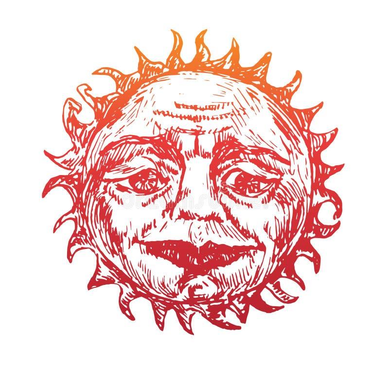 Ο ήλιος με το ζαρωμένο πρόσωπο ενός σοφού ηληκιωμένου κοιτάζει με την ευγένεια στα μάτια του, ντεμοντέ σχέδιο ύφους ξυλογραφιών διανυσματική απεικόνιση