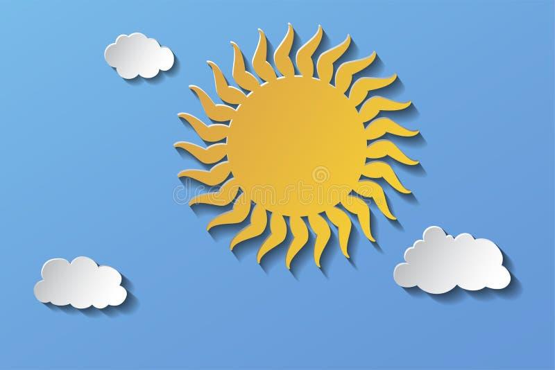 Ο ήλιος στον ουρανό και τα μικρά σύννεφα 10 eps απεικόνιση αποθεμάτων