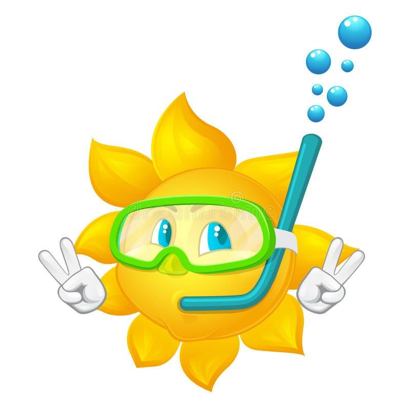 Ο ήλιος κινούμενων σχεδίων με τη μάσκα και κολυμπά με αναπνευτήρα ελεύθερη απεικόνιση δικαιώματος