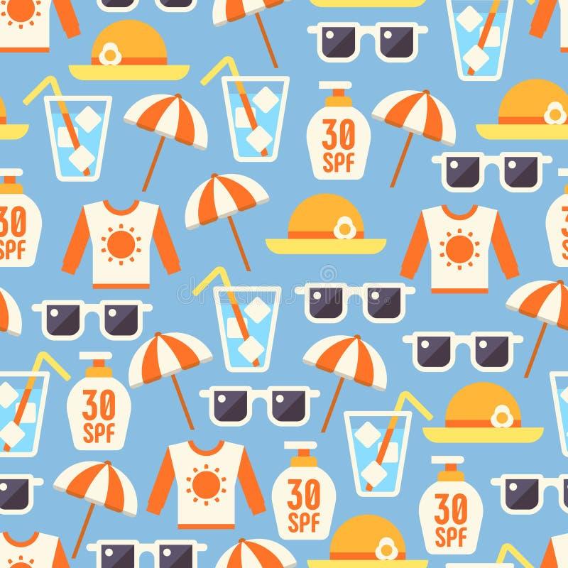 Ο ήλιος προστατεύει το άνευ ραφής σχέδιο με το λοσιόν, γυαλιά ήλιων, ομπρέλα παραλιών διανυσματική απεικόνιση