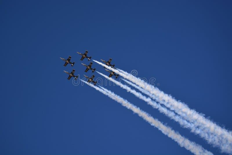 Ο αέρας παρουσιάζει αεριωθούμενα αεροπλάνα στοκ φωτογραφία με δικαίωμα ελεύθερης χρήσης