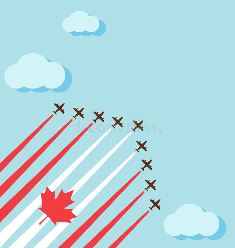 Ο αέρας παρουσιάζει στον ουρανό για τη εθνική μέρα του Καναδά διανυσματική απεικόνιση