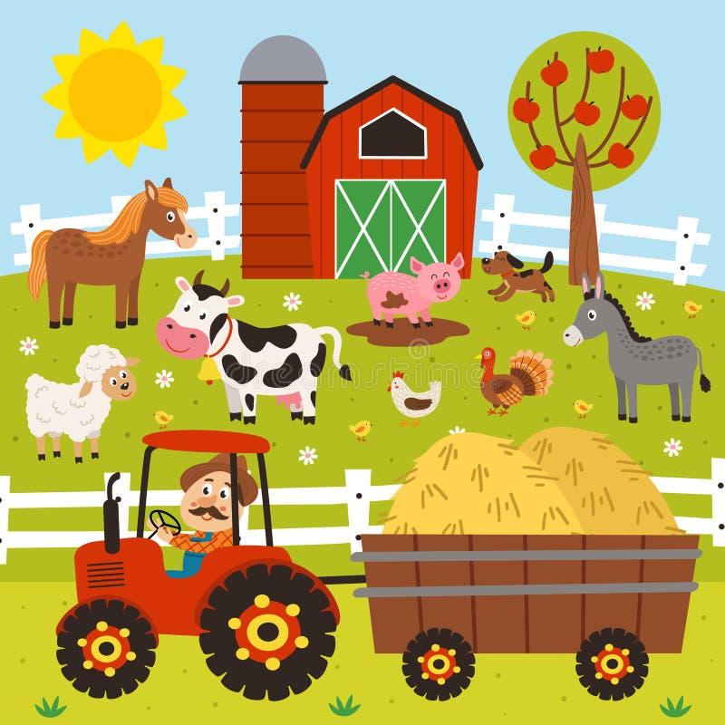 ο αγρότης οδηγά ένα τρακτέρ και τα ζώα αγροκτημάτων στέκονται barnyard ελεύθερη απεικόνιση δικαιώματος