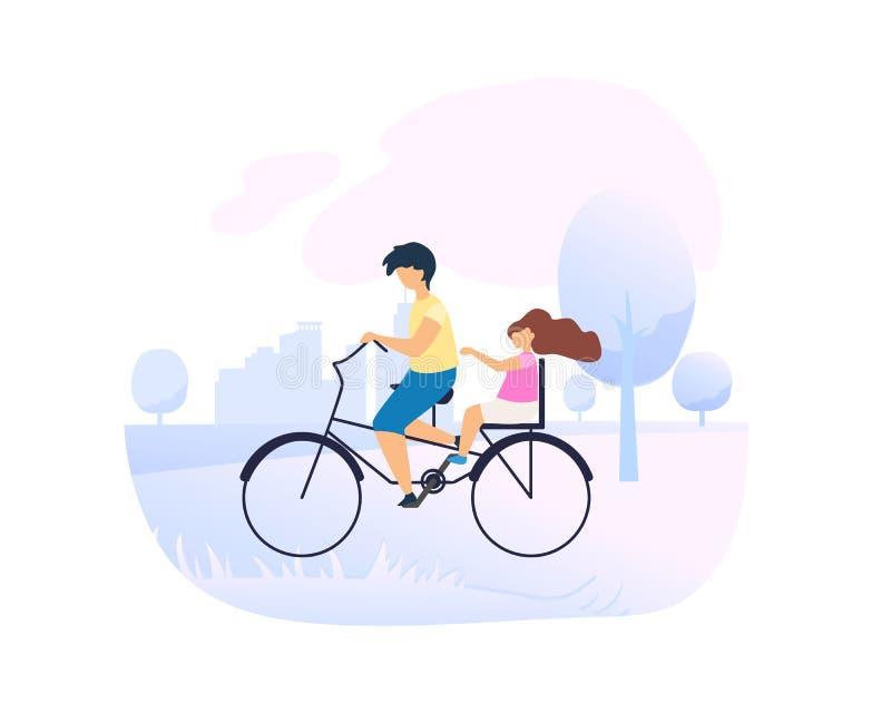 Ο αδελφός λίγη αδελφή στο ποδήλατο στο πάρκο πόλεων ελεύθερη απεικόνιση δικαιώματος