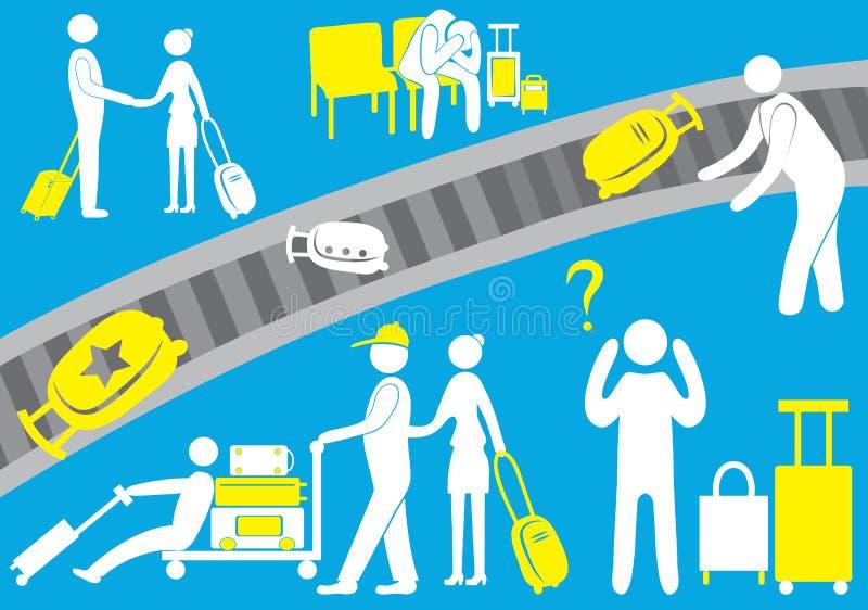 Ο αερολιμένας, ο πειραματικός, ένας μετανάστης, ένας επισκέπτης τουριστών, επιβάτες, αποσκευές, πτήση, εικονίδιο, οικογένεια επίσ απεικόνιση αποθεμάτων