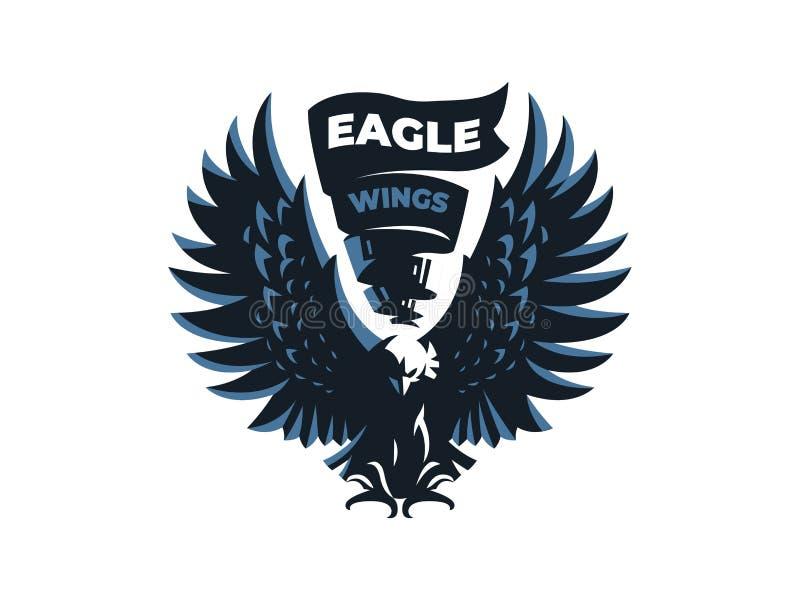 Ο αετός ή το γεράκι με τα φτερά απεικόνιση αποθεμάτων