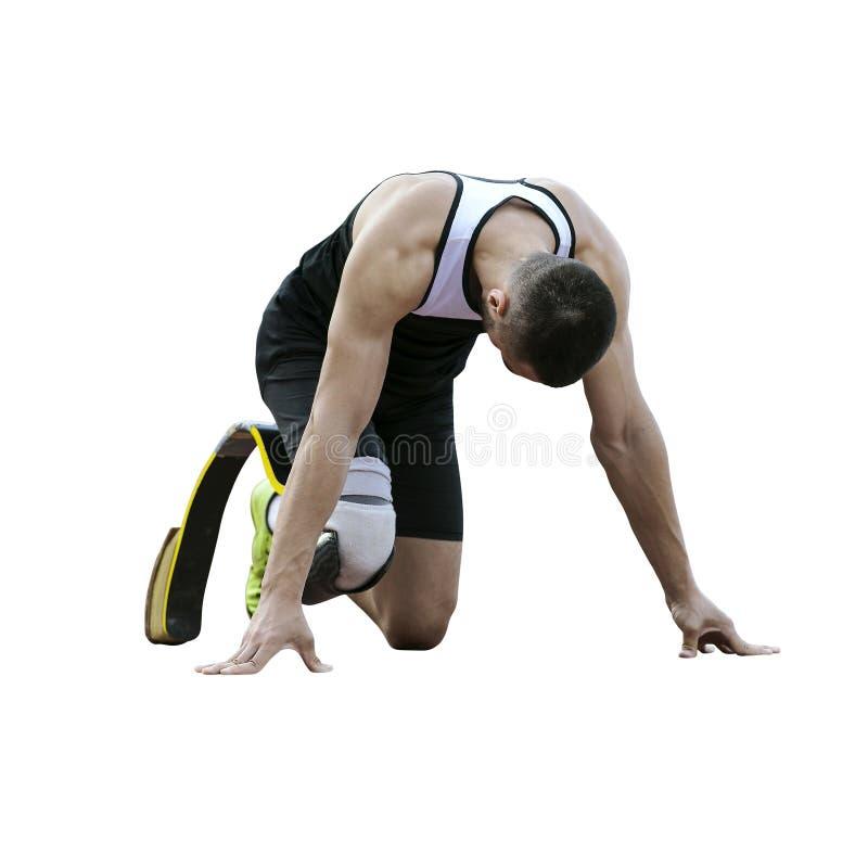 Ο αθλητής καθιστούσε ανίκανος το δρομέα στοκ εικόνες