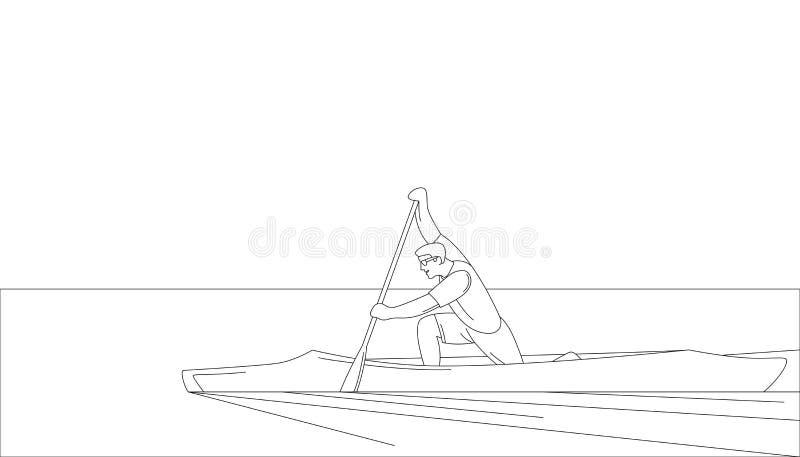Ο αθλητής σε μια διανυσματική επένδυση απεικόνισης κανό σύρει το σχεδιάγραμμα ελεύθερη απεικόνιση δικαιώματος