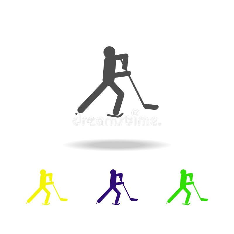 Ο αθλητής χόκεϋ πάγου σκιαγραφιών απομόνωσε το πολύχρωμο εικονίδιο Πειθαρχία παιχνιδιών χειμερινού αθλητισμού Το σύμβολο, σημάδια ελεύθερη απεικόνιση δικαιώματος