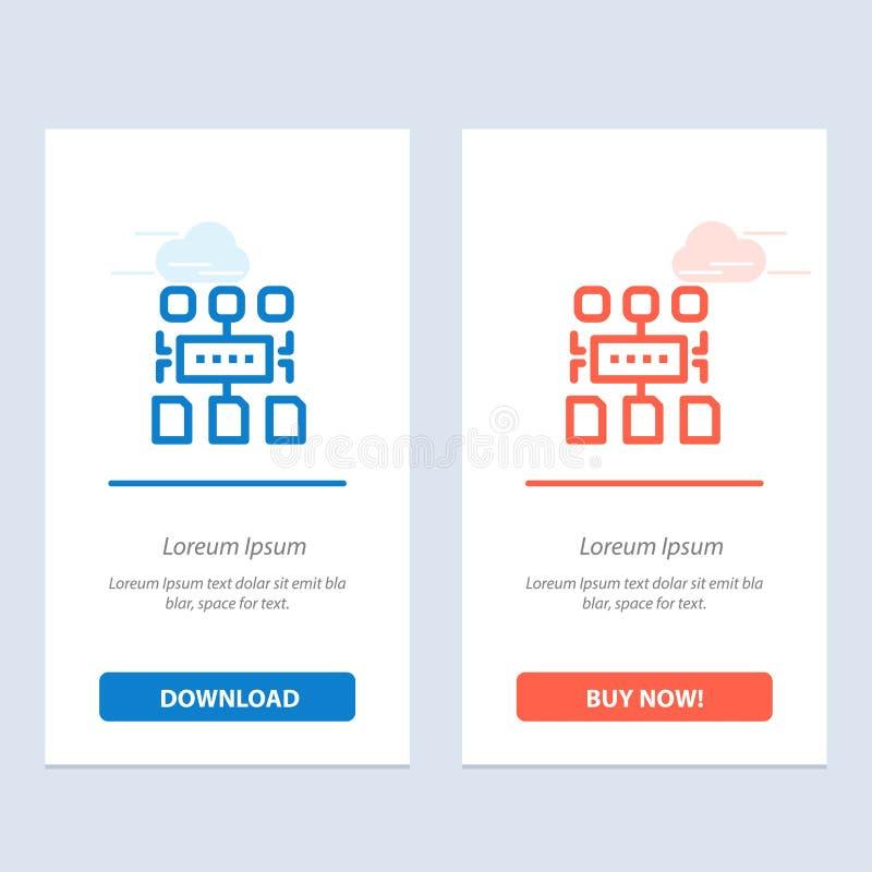 Ο αλγόριθμος, πρόγραμμα, χρήστης, τεκμηριώνει το μπλε και το κόκκινο μεταφορτώνει και αγοράζει τώρα το πρότυπο καρτών Widget Ιστο απεικόνιση αποθεμάτων
