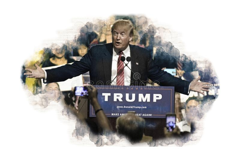 Ο αμερικανικός Πρόεδρος Ντόναλντ Τραμπ δίνει την ομιλία στους ψηφοφόρους στοκ εικόνες
