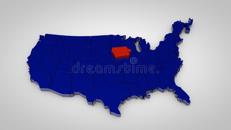 Ο αμερικανικός χάρτης με το χάρτη του Iowa τρισδιάστατος δίνει ελεύθερη απεικόνιση δικαιώματος