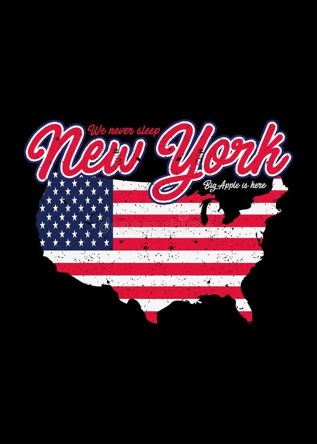 Ο αμερικανικός χάρτης της Νέας Υόρκης στενοχώρησε το ζωηρόχρωμο γραφικό διάνυσμα γραμμάτων Τ διανυσματική απεικόνιση