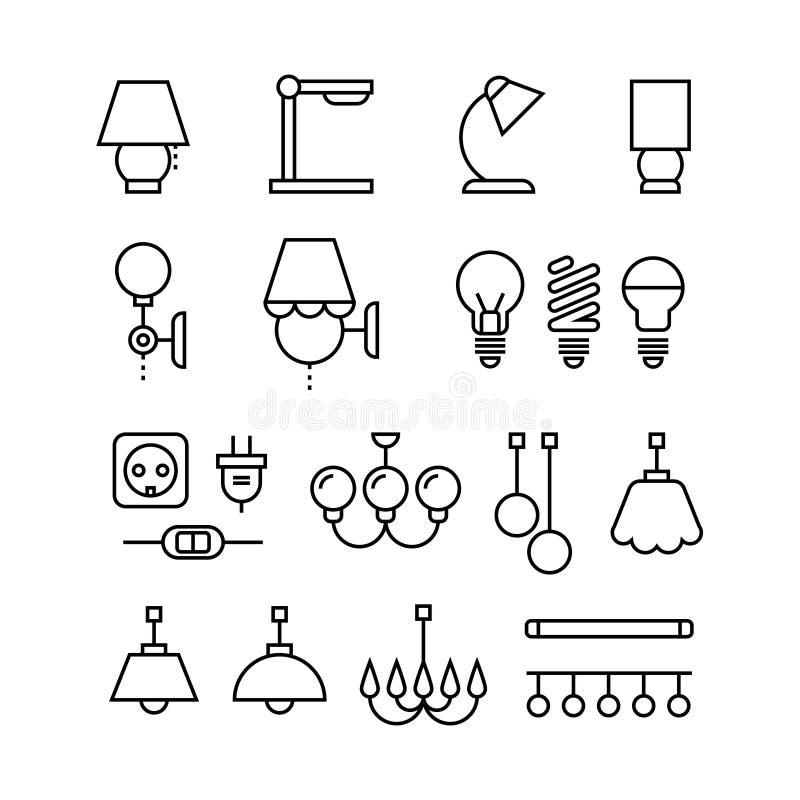 Ο λαμπτήρας, οι βολβοί, ο πολυέλαιος και οι ηλεκτρικές συσκευές λεπταίνουν τα διανυσματικά εικονίδια γραμμών καθορισμένα απεικόνιση αποθεμάτων
