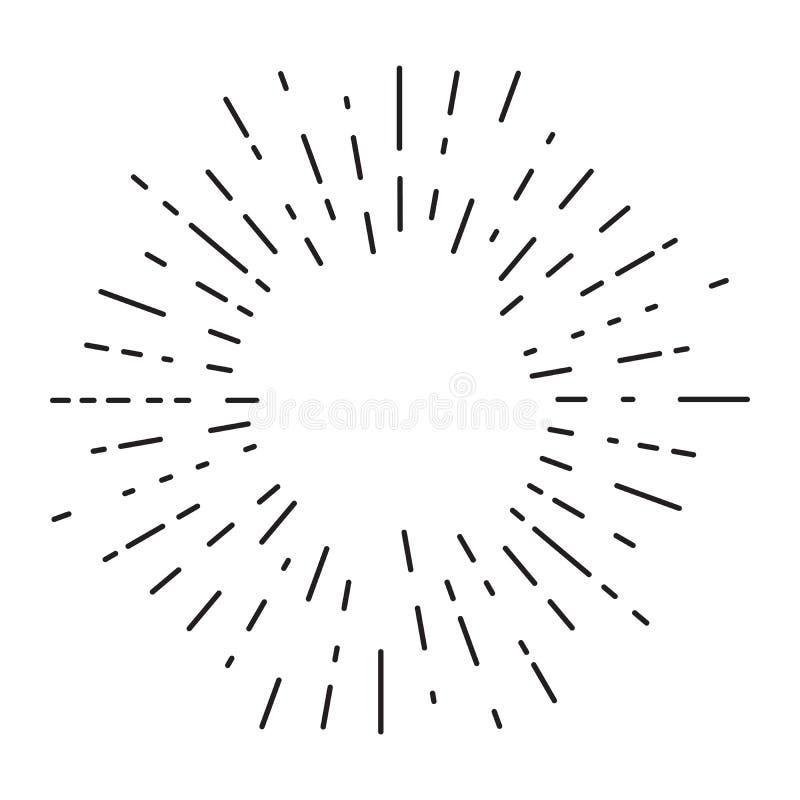 Ο αναδρομικός ήλιος εκρήγνυται, εκλεκτής ποιότητας ακτινοβόλος μορφή ακτίνων ήλιων για το λογότυπο, ετικέτες ή εμβλήματα και διάν απεικόνιση αποθεμάτων