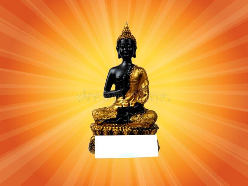 Ο αναδρομικός Βούδας με την ετικέττα και την πορεία ψαλιδίσματος στοκ εικόνες