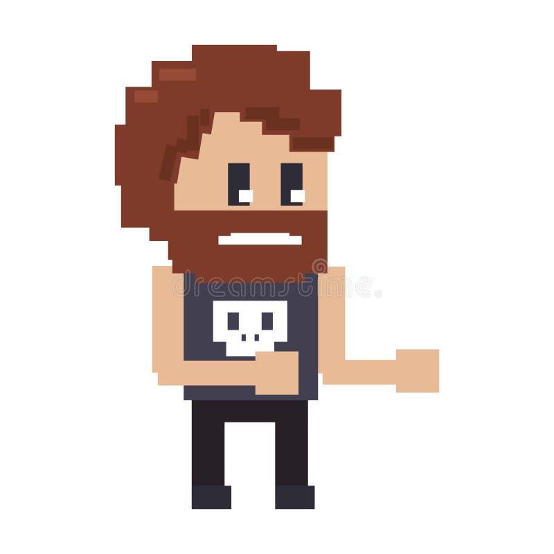 Ο αναδρομικός videogame χαρακτήρας σκληρών ανδρών τα κινούμενα σχέδια ελεύθερη απεικόνιση δικαιώματος